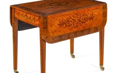 A George III Satinwood and Marquetry Pembroke Table in
