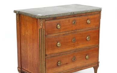 A Gustavian mahogany chest of drawers with marble top. Sweden, late 18th century. H. 83 cm. W. 91 cm. D. 49.
