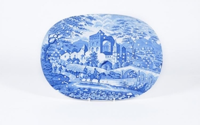 A Hamilton of Stoke 'Gothic Ruins' pattern oval drainer for a meat plate