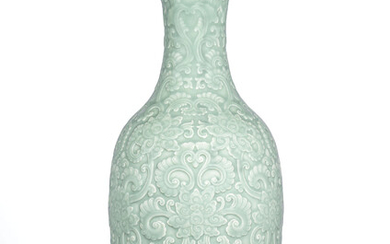 A LARGE VERY RARE MOULDED AND CARVED CELADON-GLAZED VASE, QIANLONG IMPRESSED SIX-CHARACTER SEAL MARK AND OF THE PERIOD (1736-1795)