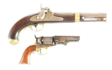(A) LOT OF 2: US PERCUSSION PISTOLS - ASTON MODEL 1842