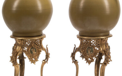 A Large Pair of Celadon Porcelain Urns on Rococo Revival-Style Gilt Bronze Bases