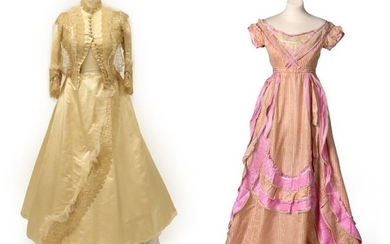 A Late 19th Century Pink and Cream Striped Evening Dress,...