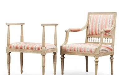 A Late Gustavian armchair by Johan Lindgren and stool.