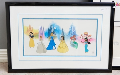 A NICELY FRAMED LIMITED EDITION DISNEY SERICEL WITH PRINCESSES, EDITION OF 3000 58 X 88CM (OVERALL)
