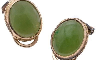 A PAIR OF 9CT GOLD JADE EARRINGS; each a 10 x 8mm cabochon nephrite jade to clip fitting, wt. 2.76g.
