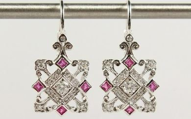 A PAIR OF 9CT GOLD, RUBY AND DIAMOND DROP EARRINGS.