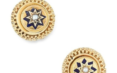 A PAIR OF ANTIQUE PEARL AND ENAMEL STUD EARRINGS, 19TH