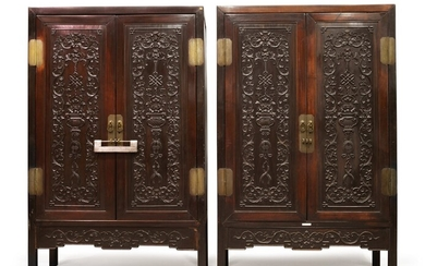A PAIR OF CARVED 'HONGMU' SQUARE-CORNER CABINETS, LATE 19TH / EARLY 20TH CENTURY