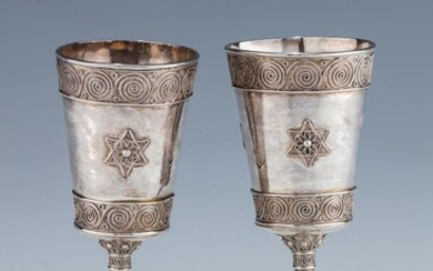 A PAIR OF EARLY SILVER KIDDUSH GOBLETS BY THE...