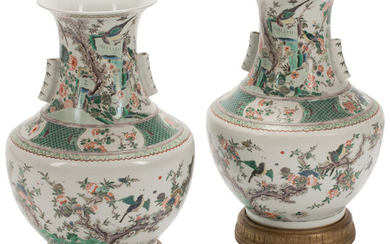 A Pair of Chinese Famille Verte Porcelain Vases on Carved Gilt Wood Bases