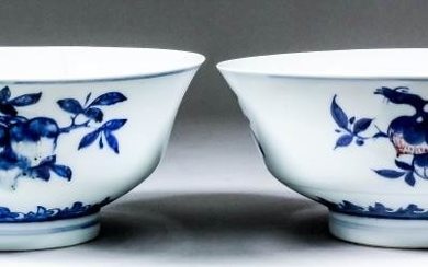 A Pair of Chinese Porcelain Underglaze Blue and Copper...