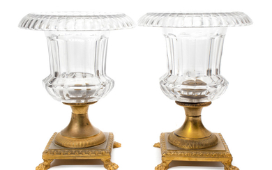 A Pair of French Gilt Bronze and Glass Urns