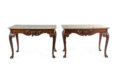 A Pair of George II Style Mahogany Center Tables