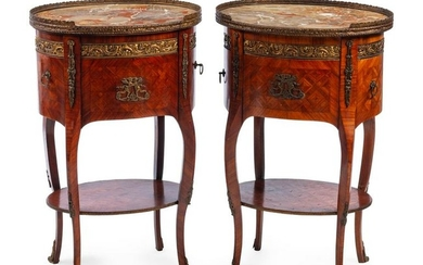 A Pair of Louis XV/XVI Transitional Style Parquetry