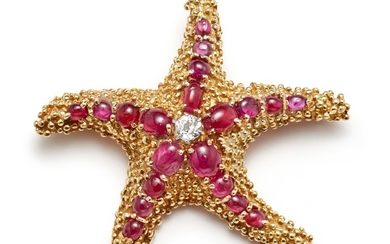 A Ruby, Diamond and Gold Brooch