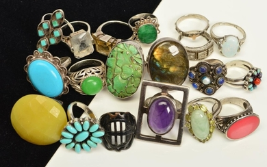 A SELECTION OF NINETEEN MAINLY GEM SET SILVER AND WHITE META...