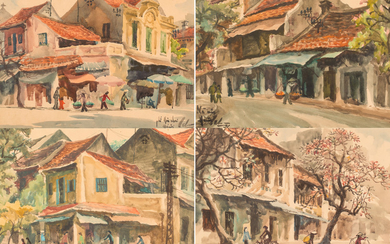 A SET OF FOUR WATERCOLOR CITYSCAPES BY LE CUU (VIETNAMESE 20TH CENTURY)