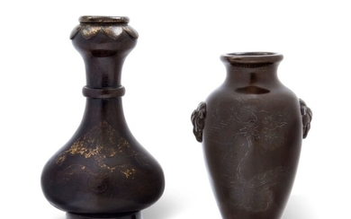 A SILVER-INLAID BRONZE VASE AND A PARCEL-GILT GARLIC-NECK VASE, 17TH-19TH CENTURY