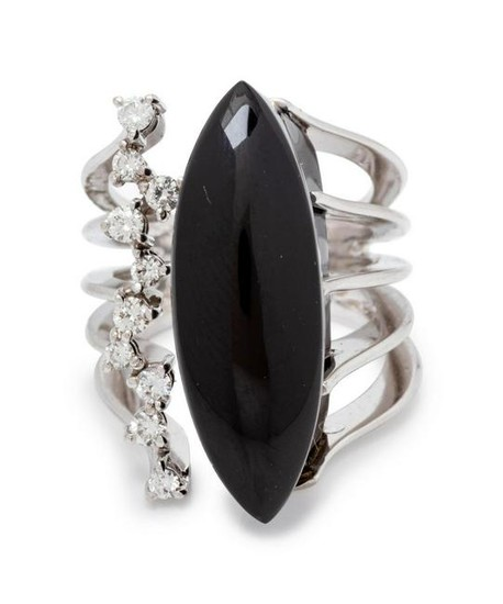 A White Gold, Onyx and Diamond Ring, Talento,
