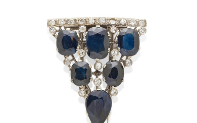 A White Gold, Sapphire and Diamond Clip Brooch
