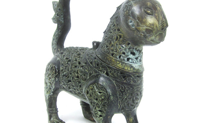 A bronze incense burner in the form of a lion
