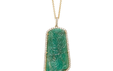 A carved emerald and diamond pendant