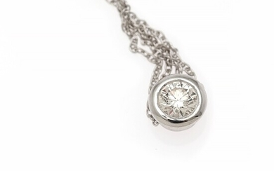A diamond necklace set with a brilliant-cut diamond weighing app. 0.35 ct., mounted in 14k white gold. Diam. 6.6 mm. L. 44 cm.