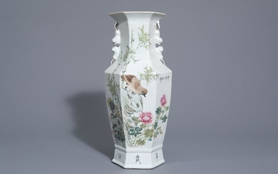 A hexagonal Chinese qianjiang cai vase with a...