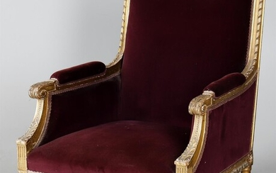 A late 19th century French carved giltwood armchair