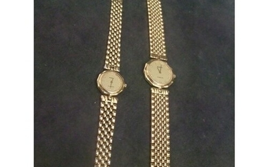 "A pair of ""Rado"" ladies and gent's gold plated and stainless..."