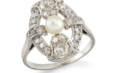 A platinum, diamond and pearl oval cluster...