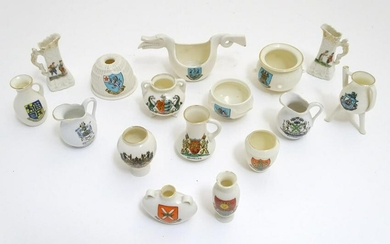 A quantity of assorted W. H. Goss China crested ware to