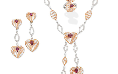 A ruby and diamond pendant necklace, ring and earring suite