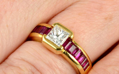 A square-shape diamond and calibre-cut ruby dress ring, by Chaumet.