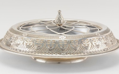 AMERICAN STERLING SILVER CENTERPIECE BOWL With silver plated flower-arranger and pierced nickel insert. Lacking maker's mark. Diamet..