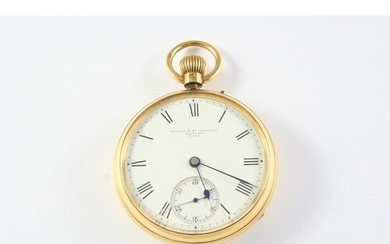 AN 18CT GOLD OPEN FACED POCKET WATCH the white enamel dial s...
