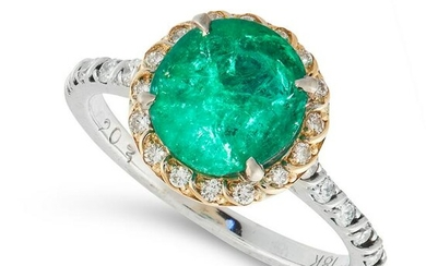 AN EMERALD AND DIAMOND CLUSTER RING in 18ct white gold
