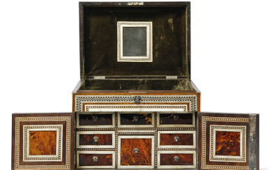 AN INDO-PORTUGUESE IVORY, GREEN-STAINED IVORY AND TORTOISESHELL-INLAID INDIAN ROSEWOOD TABLE CABINET, EARLY 18TH CENTURY