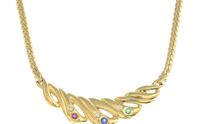 An 18ct gold gem-set and brilliant-cut diamond necklace.