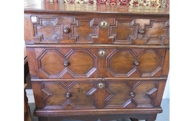 An 18th century style oak three drawer chest on stand, made ...