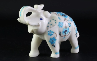 An Early Carved Marble Elephant Figure with Turquoise and Mother of Pearl Inlaid (H 16cm L 20cm)