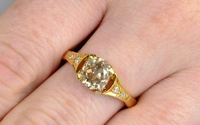 An old-cut 'brown' diamond single-stone ring, with