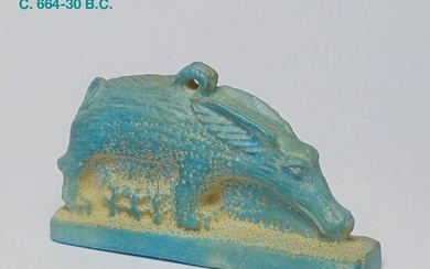 Ancient Egyptian Faience Large amulet of the goddess Mout and her cubs - 5.4 cm