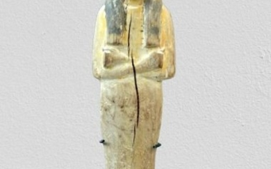 Ancient Egyptian Wood beautifully carved wooden Ushabti polychromy remains from the former museum Elias Faessen collection. - 20.5×0×0 cm
