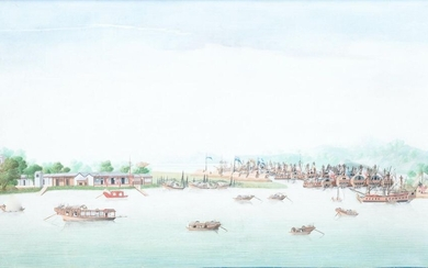 Anglo Chinese school, Canton, oil on canvas, 18th C.: 'A view on Whampoa Bay'