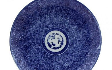Antique Japanese Blue and White Decorated Charger