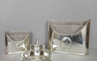 Antique desk set (3) - .800 silver, .925 silver - Italy and the United Kingdom - First half 20th century