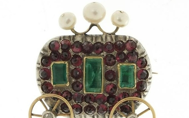 Antique unmarked gold carriage brooch with rotating