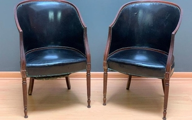 A Pair of Leather Upholstered Tub Chairs, Mid 20thc.
